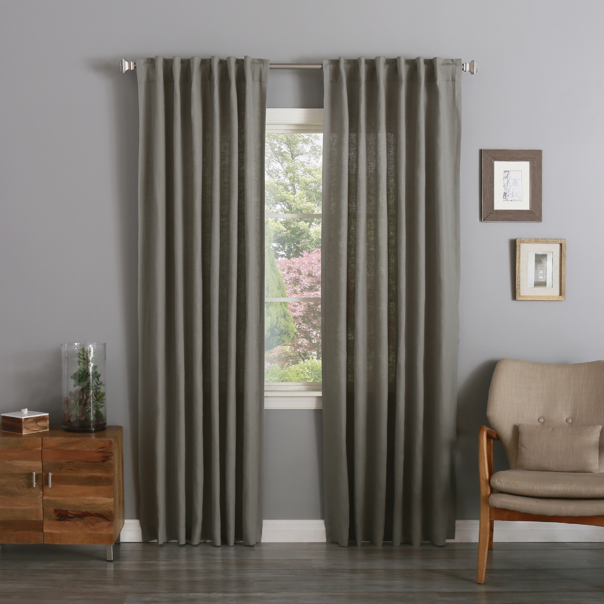 Quality Home Color Textured Linen Back Tab/ Rod Pocket Curtains