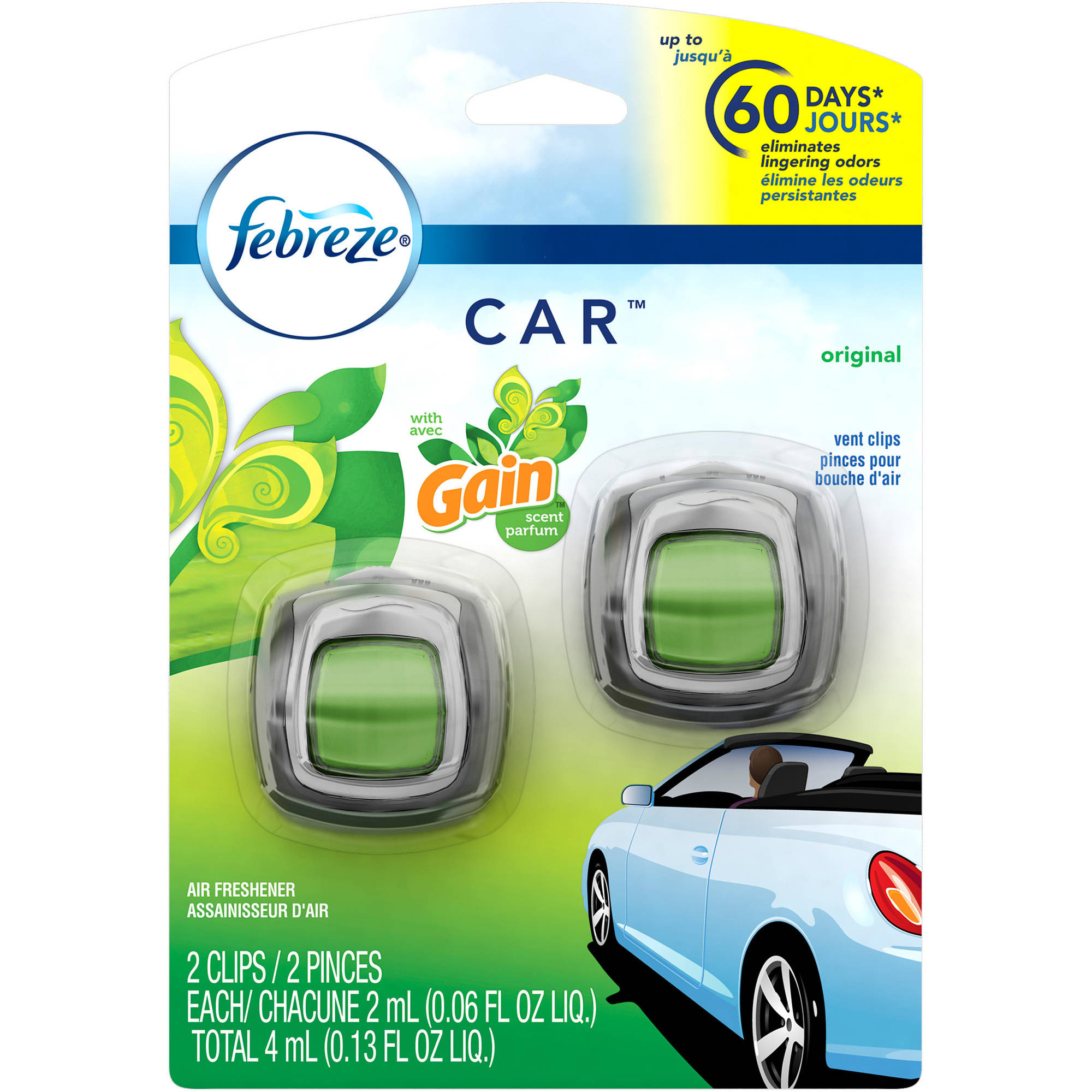 Febreze Car Vent Clips Gain Original Air Freshener, 0.06 oz, 2 count