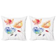 Watercolor Flower Throw Pillow Cushion Cover Pack of 2, Summer Flowers in Retro Style Painting Effect Nature is Art, Zippered Double-Side Digital Print, 4 Sizes, Orange Blue Red, by Ambesonne