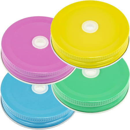 Mason Jar Lids With Holes (Mason Jar Lids Pastel With Hole, Set of)
