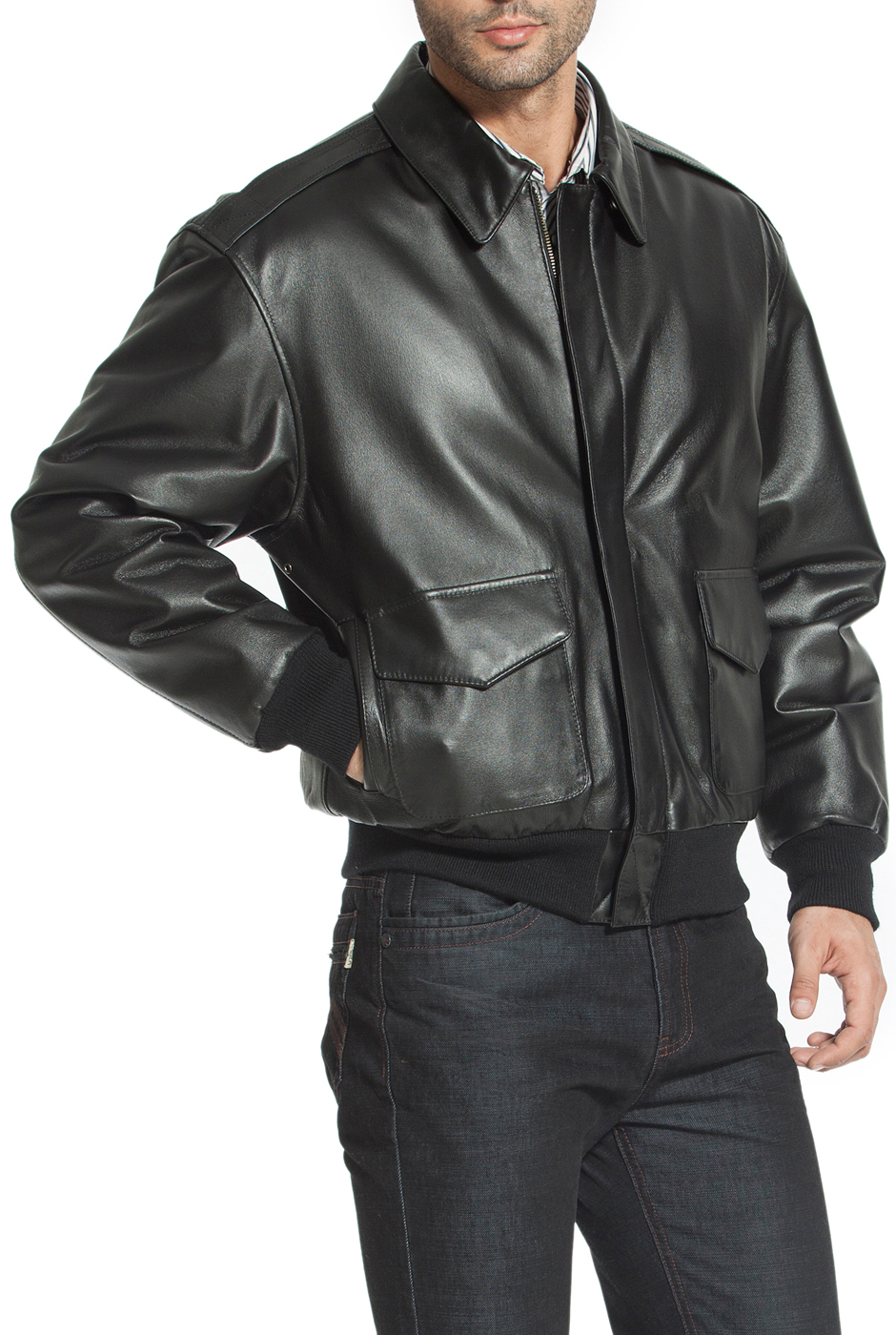 70f20ab5b Men's Air Force A-2 Leather Flight Bomber Jacket - Big & Tall