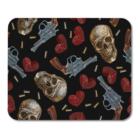 Dead Skull Guns (LADDKE Dead Skulls Hearts and Guns Wild West Old Revolvers Red Human Gangster Gothic of Mafia Mousepad Mouse Pad Mouse Mat 9x10)