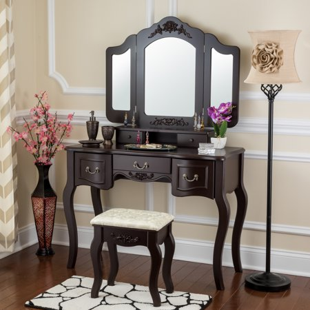 Fineboard Vanity Set Beauty Station Makeup Table And Wooden Stool With 3 Mirrors 5