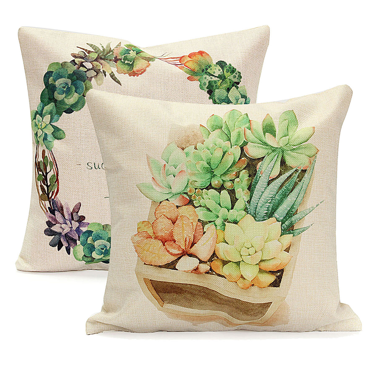 Meigar Tropical Cactus Throw Pillow Cushion Cover 18''x18'' Cotton Linen Standard Back Waist Decorative Pillowcase Pillowslip Pillow Protector Case for Sofa Couch Chair Car Seat,Succulent Plant color