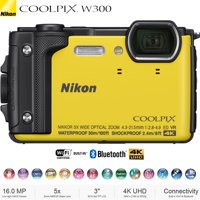 Nikon COOLPIX W300 16MP 4k Ultra HD Waterproof Digital Camera (Yellow) 26525B - (Certified Refurbished)