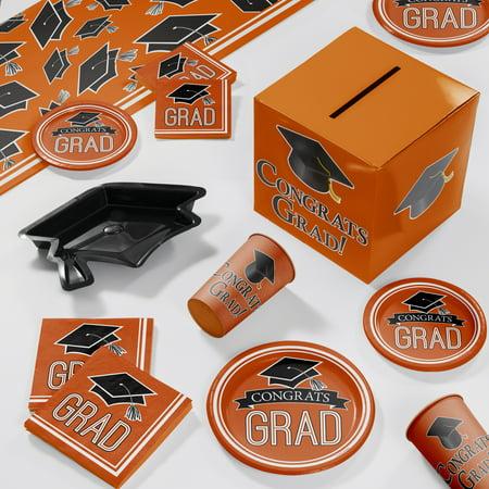 Graduation School Spirit Orange Deluxe Party Supplies Kit
