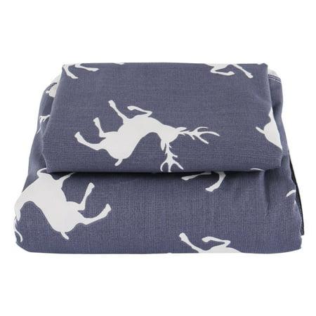 Piccocasa Duvet Cover Cotton Covers 3 Piece Bedding Pillowcase SetNavy Blue Deer - image 6 de 7