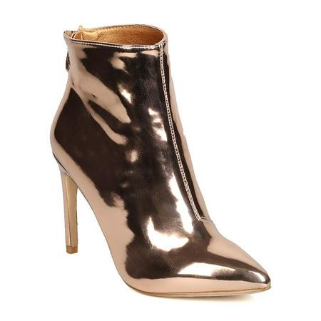 GB57 Women Metallic Leatherette Pointy Toe Stiletto Bootie