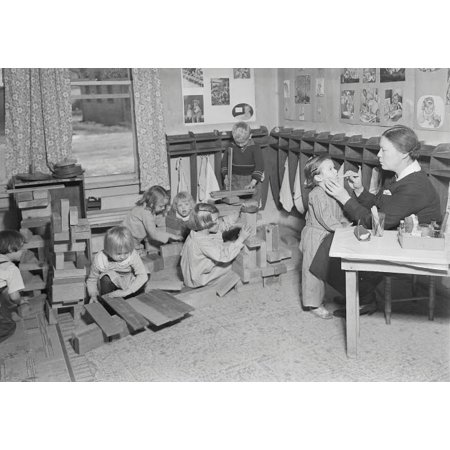 Children at a WPA nursery in Scotts Run  West Virginia  1937 Poster Print by Stocktrek Images (17 x 11)