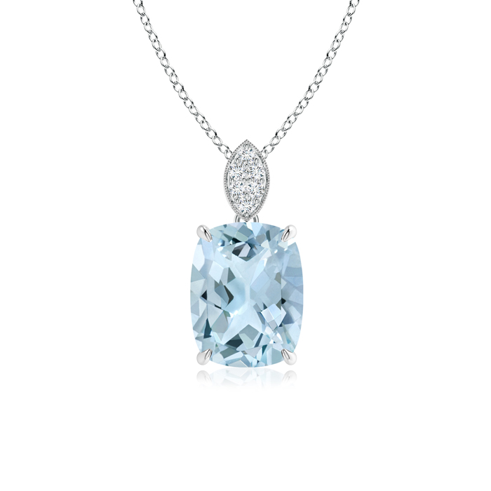March Birthstone Pendant Necklaces Cushion Aquamarine Solitaire Pendant with Diamond Bail in 950 Platinum (9x7mm... by Angara.com