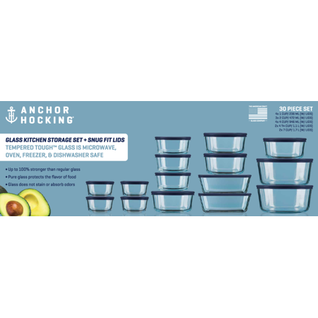 Anchor Hocking Glass Storage Set, 30 Piece