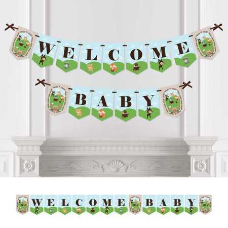 Woodland Creatures - Baby Shower Bunting Banner - Forest Friends Party Decorations - Welcome - Baby Shower Decorations For Boys
