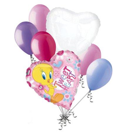 7 pc Tweety Bird Tweet Heart Valentines Day Balloon Bouquet Be Mine Love You