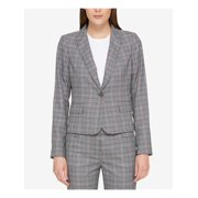 TOMMY HILFIGER Womens Gray One-button Plaid Collared Blazer Jacket  Size: 10