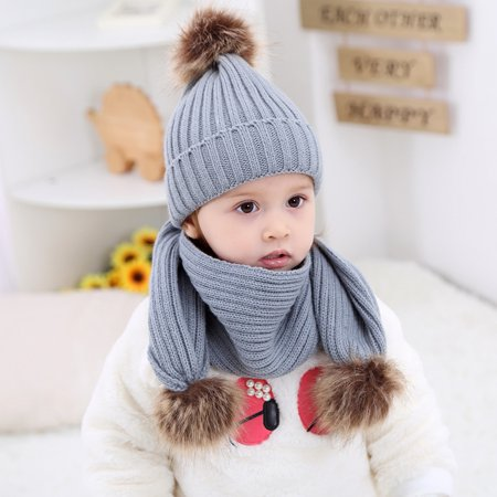 c88fe3b0c19 HiCoup Solid Color Baby Boys Girls Winter Fluffy Ball Cute Knitted Beanie  Hat + Scarf - Walmart.com