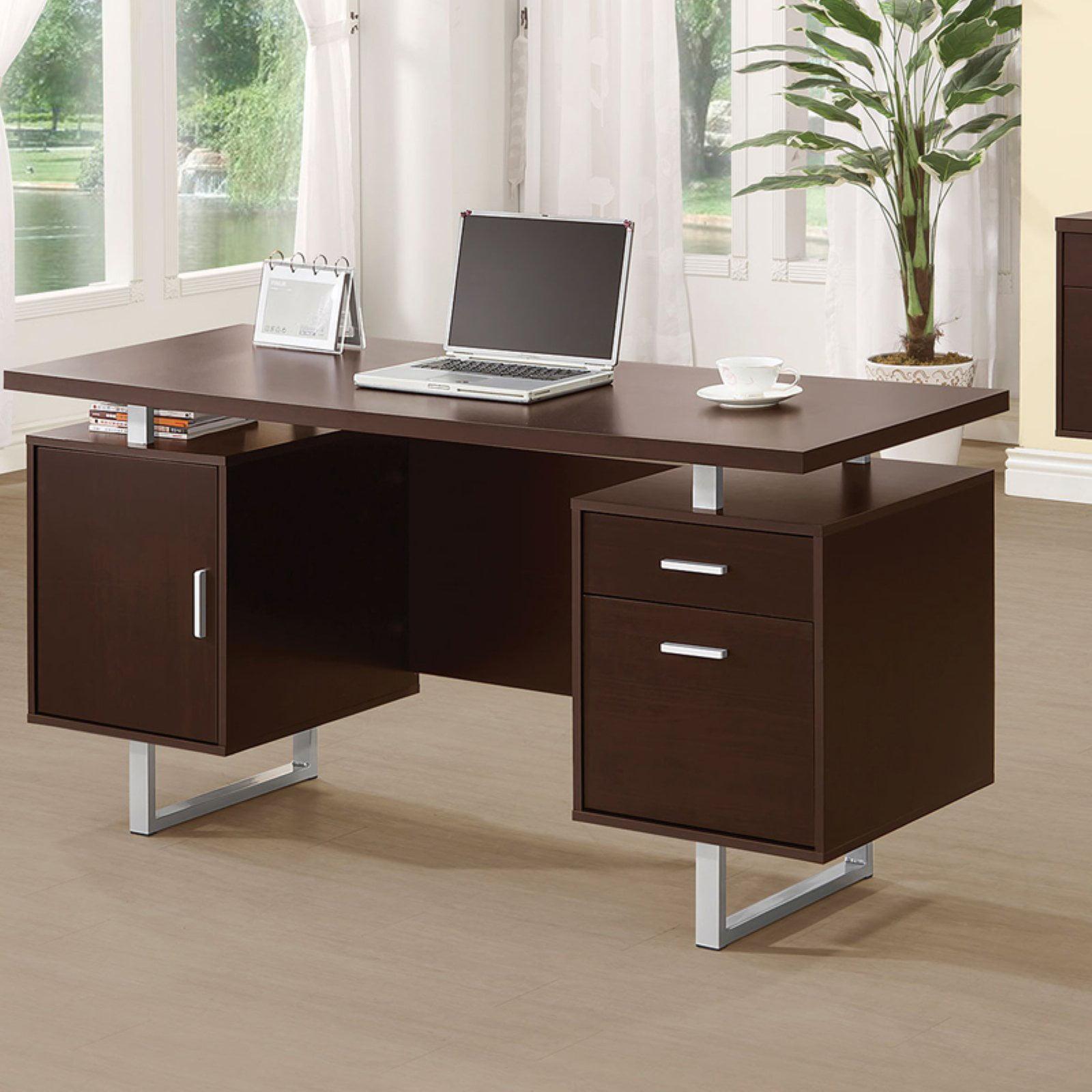 Coaster Company Office Desk, Cappuccino, Silver