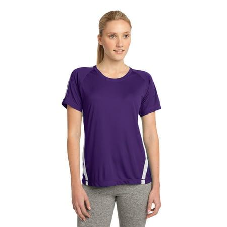Sport-Tek® Ladies Colorblock Posicharge® Competitor™ Tee. Lst351 Purple/ White S - image 1 of 1