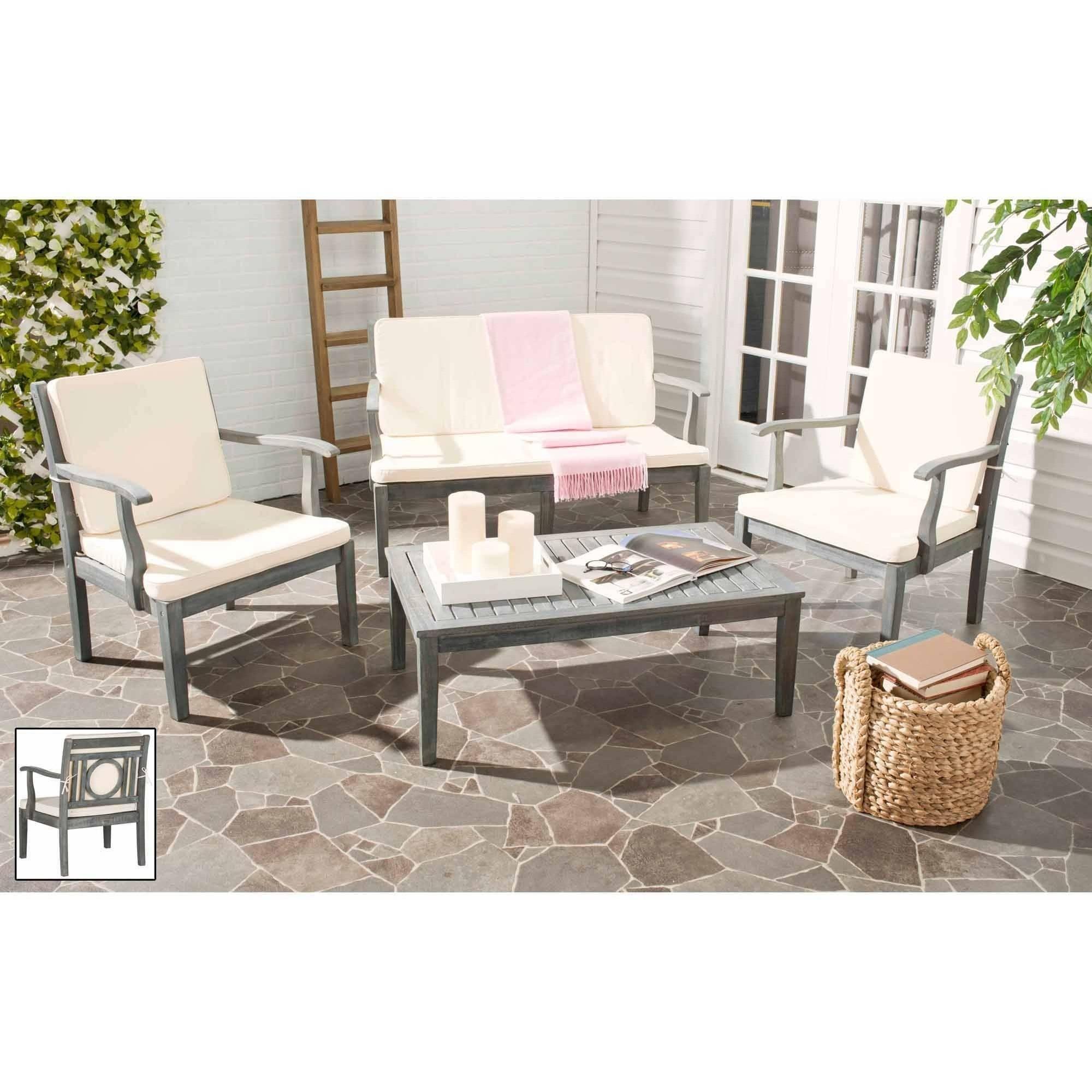 Safavieh Monclair 4-Piece Outdoor Living Set, Ash Grey