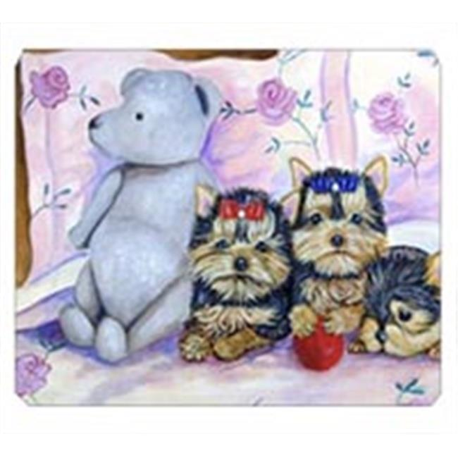 Carolines Treasures 7192MP 8 x 9.5 in. Yorkie Puppies Three in a Row Mouse Pad, Hot Pad or Trivet - image 1 de 1