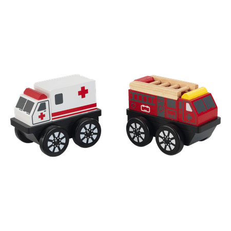 Wooden Toy Truck - KidKraft Wooden 2-Piece Rescue Vehicle Playset, Toy Ambulance and Fire Truck Cars