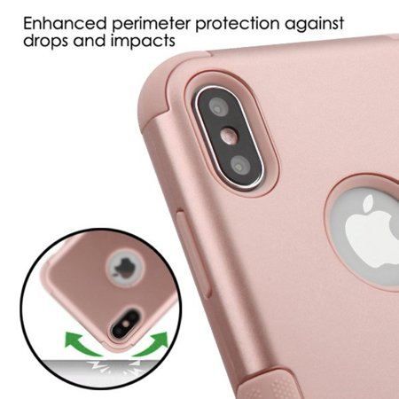 Insten Tuff Dual Layer [Shock Absorbing] Hybrid Hard Plastic/Soft TPU Rubber Case Cover For Apple iPhone XS Max, Rose - image 5 of 5