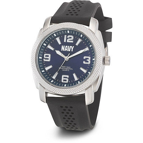 Men's U.S. Navy C21 Blue Dial Watch, Black Rubber Strap