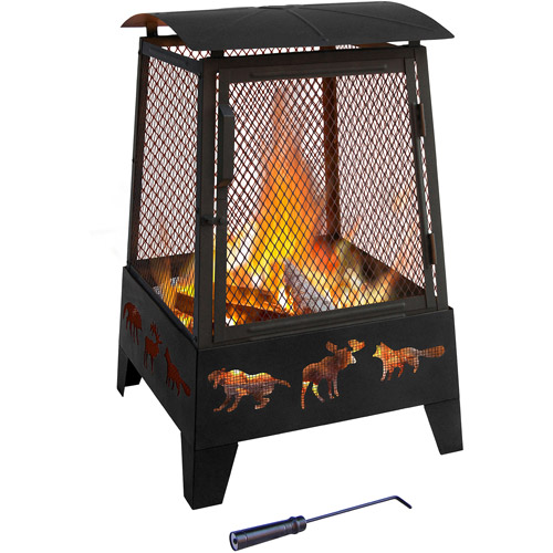 Landmann Haywood Outdoor Fireplace, Wildlife, Black