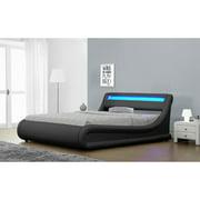 Kingway Furniture Brose LED Storage Platform Queen Bed in Black