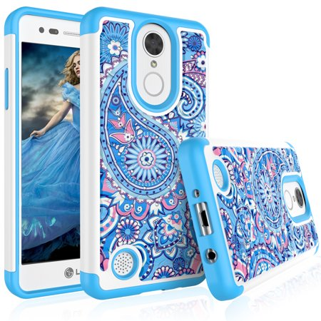(LG Aristo / LG V3 / LG LV3 Case, LG K8 2017 Cute Case, Tekcoo [Tmajor] Retro Pattern Lovely [Paisley Blue] Bling Crystal Studded Rhinestone Rubber Hard Plastic Bumper Cases Cover For LG M210 MS210)