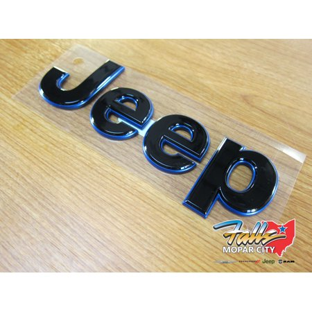 2018-2019 Jeep Grand Cherokee Front Black and Blue Nameplate NEW MOPAR OEM
