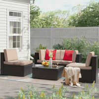 Walnew 5 Pieces Outdoor Patio Sectional Sofa Sets All-Weather Wicker Rattan Conversation Sets With Glass Table.