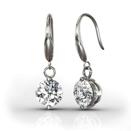 Dangling Earrings (Cate & Chloe Veronica 18k White Gold Dangling Earrings w/ Swarovski Crystals, Sparkling Round Cut Solitaire Diamond Silver Drop Earring Set - Hypoallergenic - MSRP)