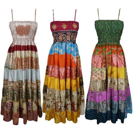 45244997e0 Mogul Interior - Mogul Wholesale Lot of 3 Pcs Patchwork Midi Dress ...