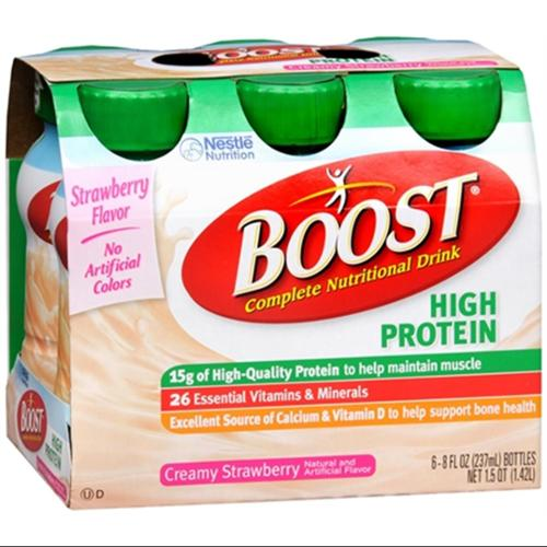 BOOST High Protein Nutritional Energy Drinks Strawberry 48 oz (Pack of 2)
