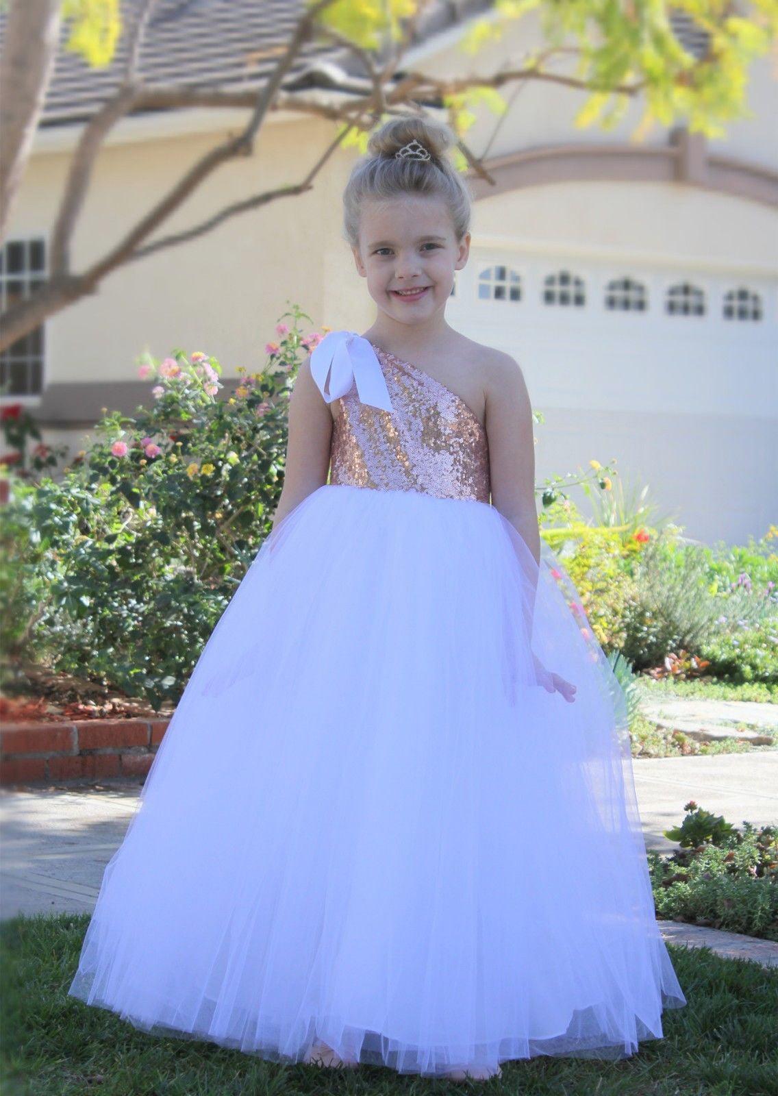 One-Shoulder Sequin Tutu Flower Girl Dress Wedding Pageant Dresses Ball Gown Tutu Dresses Pageant Dress 182