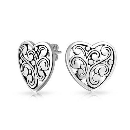 (Bling Jewelry Large Sterling Silver Filigree Scroll Heart Stud Earrings)