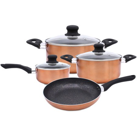 7 Piece Nonstick Cookware Set Induction Marble Coating Cooking Saucepan Frypan Casserole Pots and Pans With Lids Hard Pressed Aluminum Soft Touch Handles Stovetop Safe No