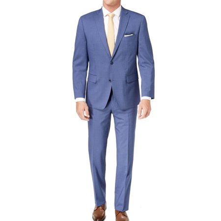Mens Pinstriped Two Button Wool Suit 42 Mens Navy Pinstripe Wool Suit