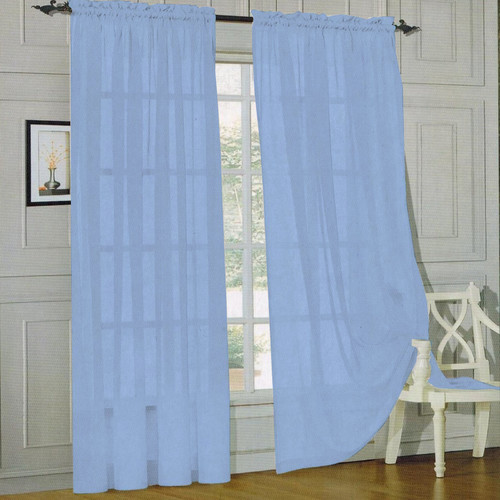 Sweet Home Collection Sheer Voile Curtain Panels (Set of 2)