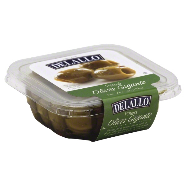 Delallo Pitted Olives Gigante, 8 oz