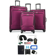 American Tourister Pop Max 3 Piece Luggage Spinner Set 29 Inch, 25 Inch, 21 Inch Berry (115358-1944) Bundle with Luggage Accessory Kit (Neck Pillow, Notepad, Passport Case, Ear Plugs (6 Items))