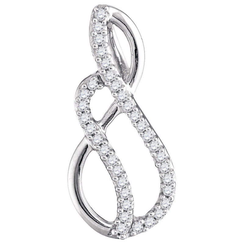10K White Gold 0.10ctw Shiny Pave Diamond Swirling Loop Fashion Pendant