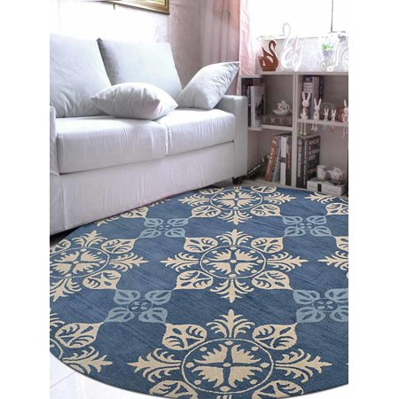 Rugsotic Carpets Hand Tufted Wool 8'x8' Round Area Rug Floral Blue K00661 Blue Floral Wool Rug