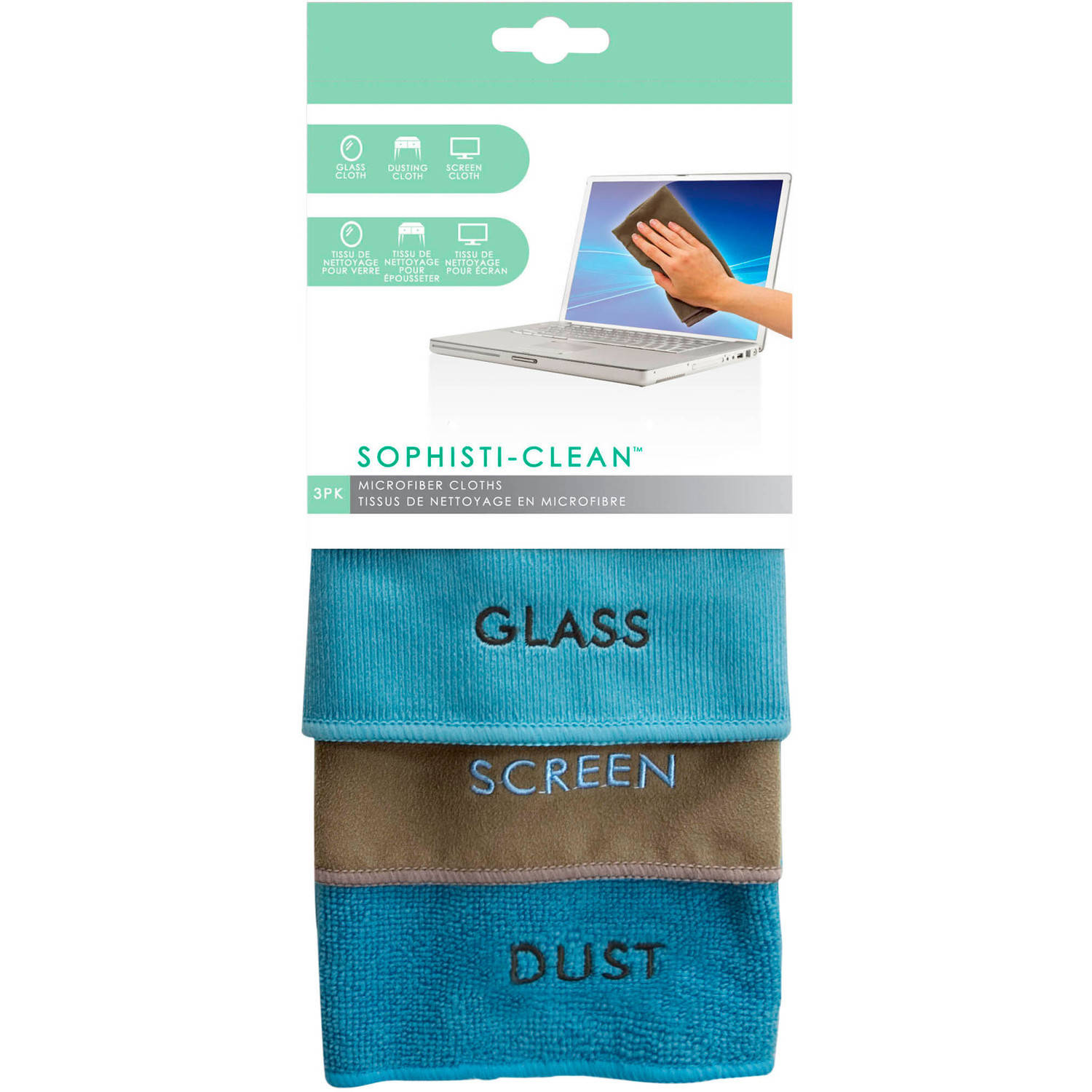EVRI Sophisti-Clean Microfiber Cleaning Cloths, 3 count