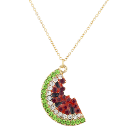 Lux Accessories Gold Tone Red Green Crystal Rhinestone Watermelon Necklace ()