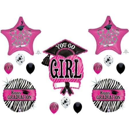 CLASS OF 2019 Zebra You Go Girl Graduation Party Balloons Decoration Supplies - Zebra Decorations