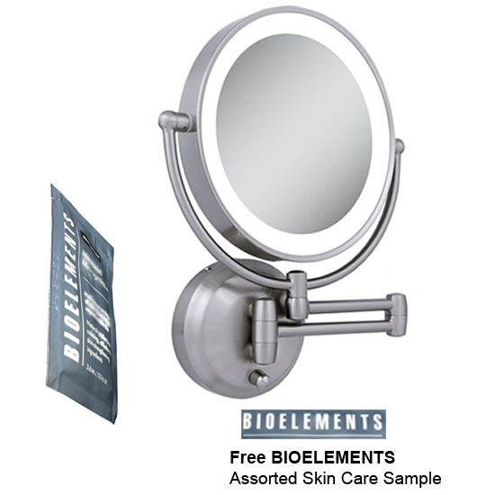 Zadro LEDW410 LED Lighted Wall Mounted Makeup Mirror with Free Bioelements Skin Care Sample
