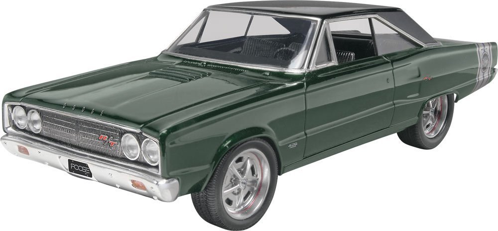 '67 Dodge Coronet Plastic Model Kit, Molded in white and clear with chrome plated parts... by