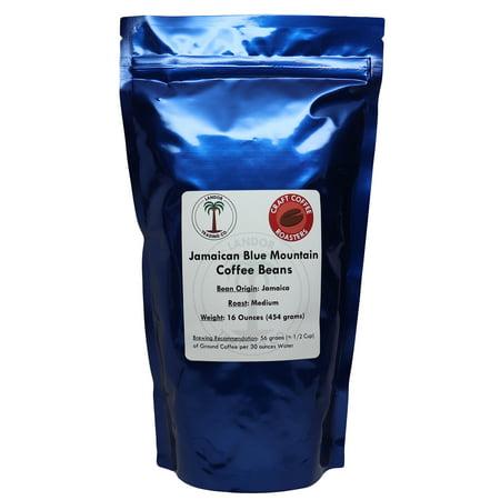 Jamaica Blue Mountain Coffee, Certified 100% Pure, 1lb, Medium Roast, Whole Bean 100% Pure Coffee Bean
