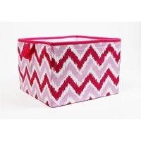 Bacati - MixNMatch Purple Zigzag Cotton Percale Fabric covered Storage, Small Box, 10 L x 10 W x 10 H inches